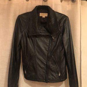 Michael Kors Genuine Leather Jacket- Black